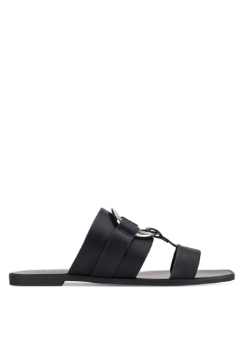 ZALORA black Ring Flat Sandals 13A39SHB47182EGS_1