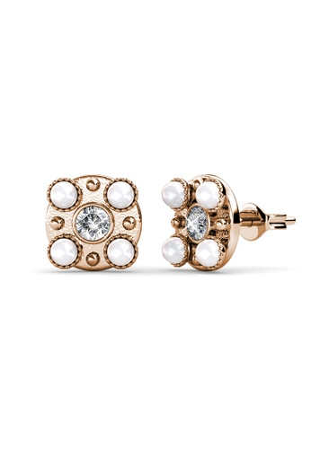 Her Jewellery white and gold Bronx Earrings (Rose Gold White) -  Embellished with Crystals from Swarovski® 1F88FACD74B897GS_1