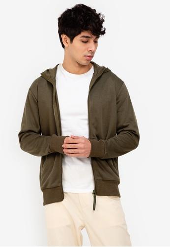 ZALORA BASICS green Zipper Hoodie Jacket 92FBAAA31B6DB0GS_1