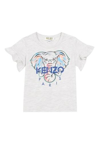 KENZO KIDS grey and blue and multi KENZO BABY GIRLS T-SHIRT. 388B6KA676F84CGS_1
