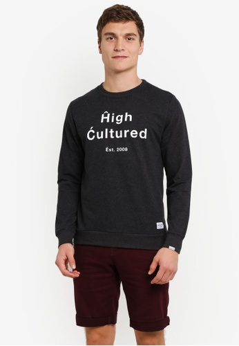 High Cultured black Printed Sweater HI002AA0S1U0MY_1