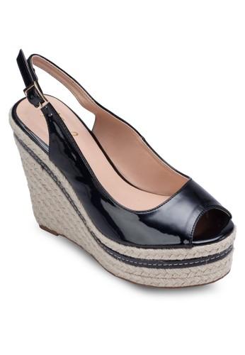 繞踝露趾楔形跟鞋, 女esprit 品牌鞋, 楔形涼鞋