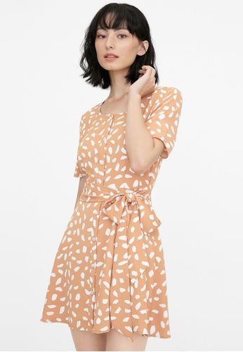 Pomelo orange Abstract Speckled Button Up Dress - Orange 07302AA576532DGS_1