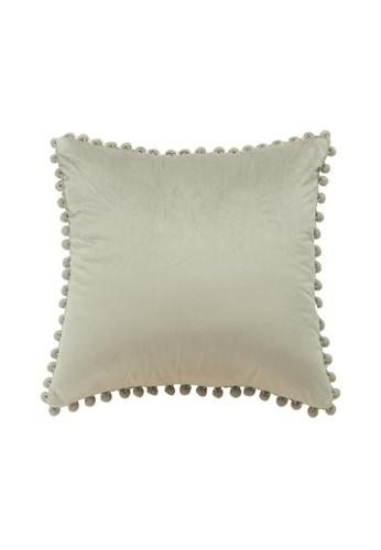 DILAS HOME Pom Pom Velvet Cushion Cover (Grey) 49399HL663F383GS_1