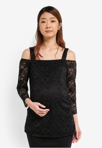 Dorothy Perkins black Maternity Lace Top DO816AA0T05UMY_1