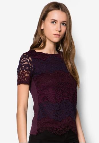 蕾絲配色條zalora時尚購物網的koumi koumi紋上衣, 服飾, 上衣