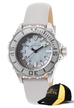 Pro Diver Lady 36mm Case Leather Strap Platinum Watch 18494 with FREE Baseball Cap