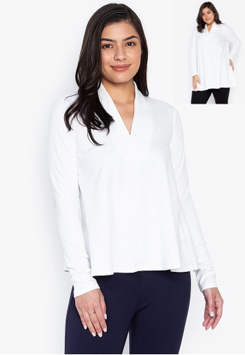 Wear Kris white Kayliegh High V Neck Tent Blouse DDB0AAAD8131E7GS_1