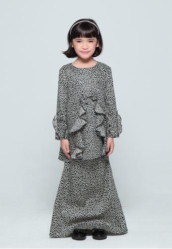 QUTN grey and white Sophie Ruffle Kurung B25D0KA3D9F97FGS_1