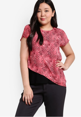 Ex'otico red Short Sleeve Layered Blouse EX373AA82DGNMY_1