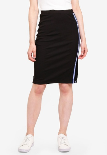 Something Borrowed black Stripe Trim Skirt With Slit 0463EAAC75C6BBGS_1
