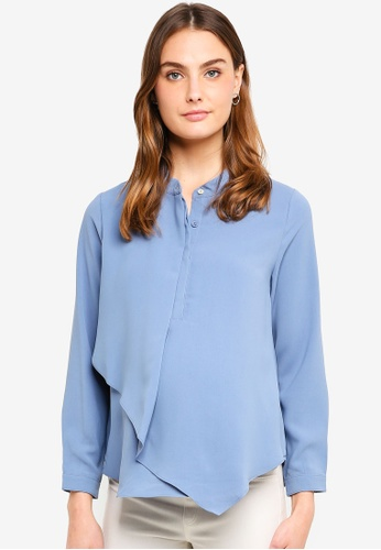 Spring Maternity blue Maternity Long Sleeves Chrissy Mandarin Collar Top 5BCA8AA2537954GS_1