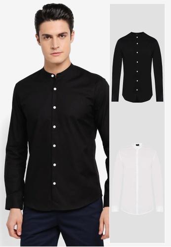 ZALORA black and white 2 Pack Slim Fit Mandarin Collar Oxford Long Sleeve Shirt ZA819AA0T291MY_1