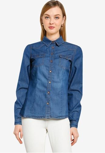 Springfield blue Essential Denim Shirt 6E8CFAAC1EA4EFGS_1
