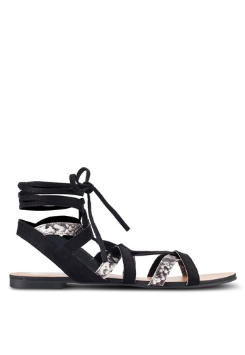 ZALORA black Multi Straps Lace Up Sandals 0B9CASH0A7C6C1GS_1