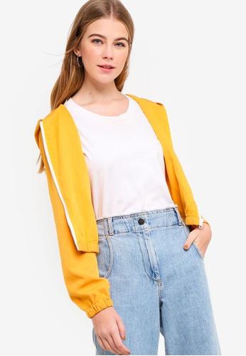 Something Borrowed yellow Hooded Jacket D73FAAA294335CGS_1