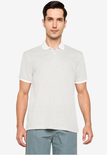 LC Waikiki 米褐色 Polo Neck Short Sleeve Jacquard T-Shirt AA858AA552D6F9GS_1