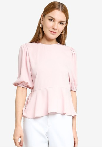 Origin by Zalora pink 100% Recycled Polyester Babydoll Balloon Sleeve Top 00FCDAAB93EB39GS_1