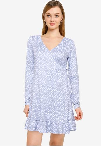 Hollister blue Knit Wrap Short Dress D3475AA0630E49GS_1