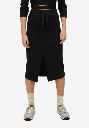 Mango black Elastic Waist Skirt CE29CAAA6A4F3DGS_1
