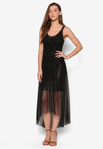 Miss Selfridge black Embroided Mesh Body Maxi Dress MI665AA70OWJMY_1
