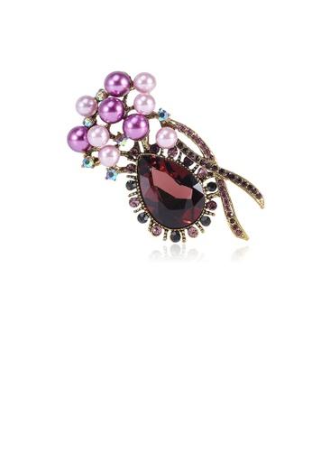 Glamorousky purple Fashion and Elegant Plated Gold Geometric Water Drop-shaped Purple Cubic Zirconia Brooch with Imitation Pearls 96F9DACE7699B2GS_1
