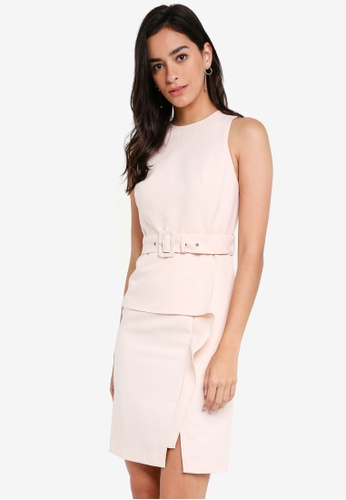 ZALORA pink Belted Peplum Dress 0ABDDAAE654C25GS_1