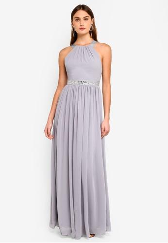 Goddiva grey Halter Neck Chiffon Maxi Dress F93A2AA72E0E7DGS_1