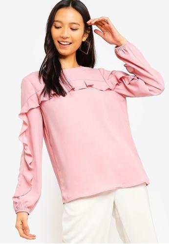 ZALORA 粉紅色 荷葉飾長袖上衣 DE966AAEDEAB9BGS_1