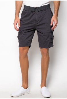 Walking Shorts with Belt and Side Pockets