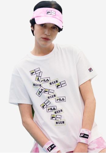 FILA white FILA x MSGM Layer Logo Side Split T-shirt F3A6DAA9385C60GS_1