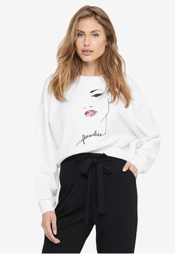 ONLY white Zita Life Short Long Sleeve Lips Box Sweatshirt ED900AA4042BC3GS_1