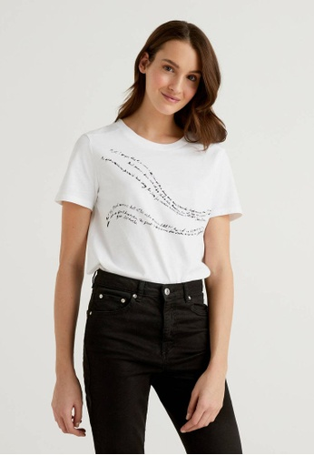 United Colors of Benetton white Organic Cotton Printed T-shirt B7BA4AAD0F0FFBGS_1