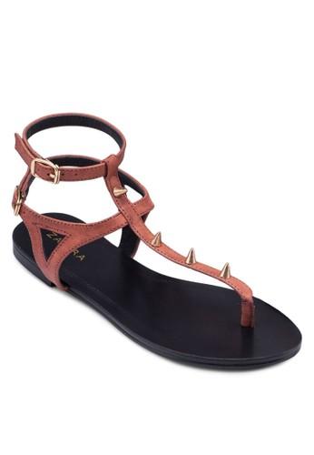 尖釘T字帶雙繞踝涼鞋, 女鞋,zalora鞋 鞋