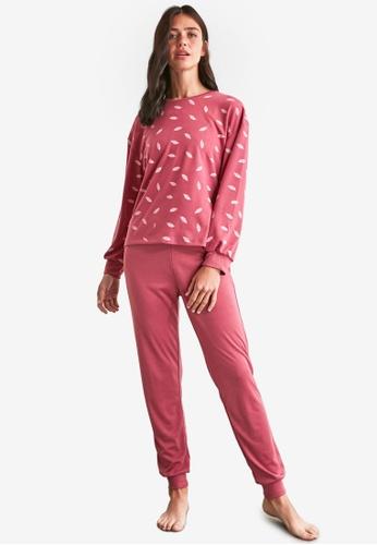 Trendyol pink 2-Piece Printed Knit Pajamas Set FEB60AAA7C4E49GS_1