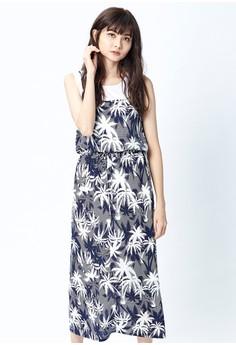 【ZALORA】 OUWEY歐薇 夏日棕梠印花假兩件洋裝