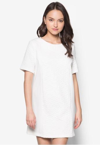 提花拼接zalora 衣服評價直筒連身裙, 服飾, 洋裝