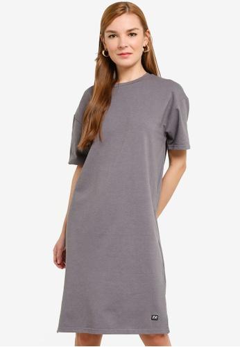 UniqTee 灰色 Round Neck Tee Dress 2E592AA66A535CGS_1