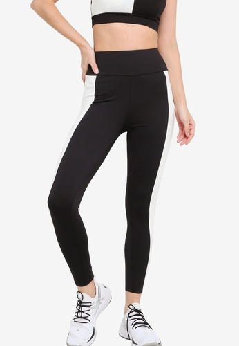ZALORA ACTIVE black and white 7/8 Colorblock Tights 1547AAA880C2BEGS_1