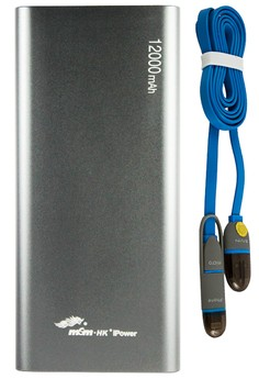 MSM.HK DUCATI iPower 12000mAh Power Bank With FREE Bavin 2-in-1 USB Data Cable with Lightning