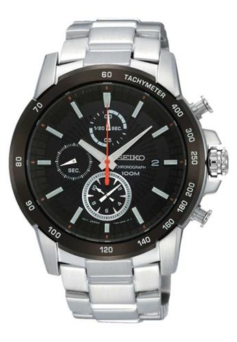 Seiko multi Seiko Black and Silver Stainless Steel Watch 7E492ACEE58CBBGS_1