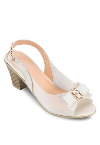 蝴蝶結繞zalora 手錶踝露趾粗跟鞋, 女鞋, 鞋