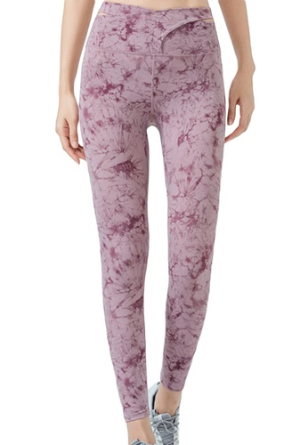 Sunnydaysweety purple Floral High Waist Yoga Sports Tights A21031706PU 1B2EDAA960033AGS_1