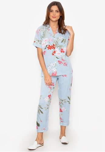 FEMINISM blue Cotton Shortsleeve Pajama 6C7AEAA36CA191GS_1