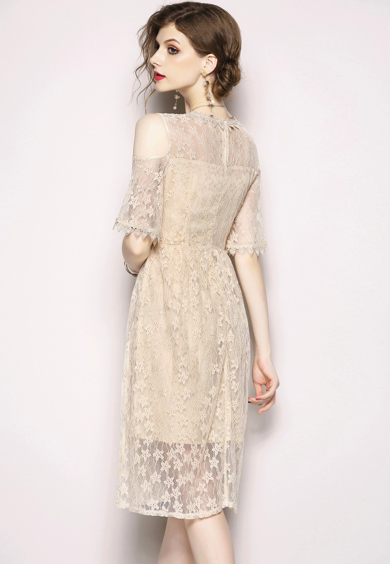 Beige Lace Sunnydaysweety Open Piece 2018 CA071870BE One New Beige Shoulder Dress xAA7va