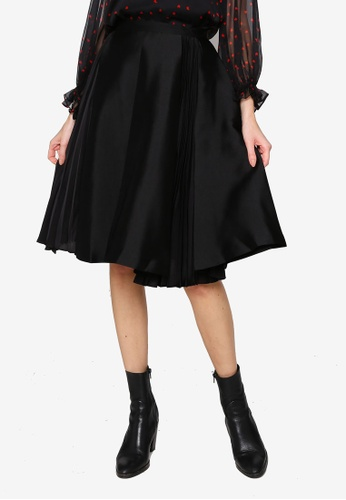 Hopeshow black Asymmetrical Hem Pleated Midi Skirt 951D6AA79265FBGS_1