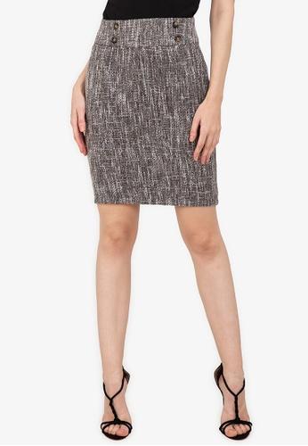 ZALORA WORK multi Button Detail Tweed Skirt A921CAA6D9E295GS_1