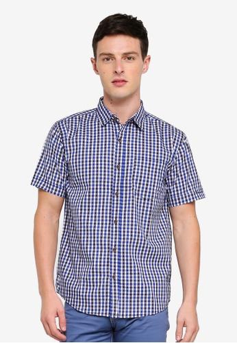 Fidelio 藍色 格紋休閒短袖襯衫 08D80AA371DB1EGS_1