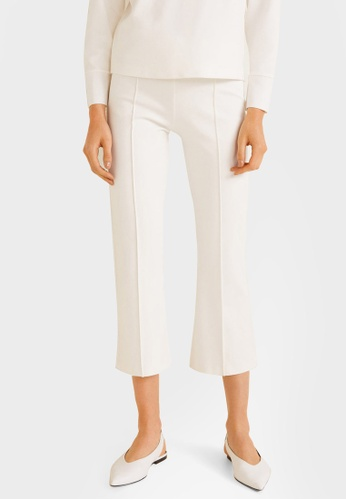 Mango white Straight Textured Trousers BF088AA2A24304GS_1