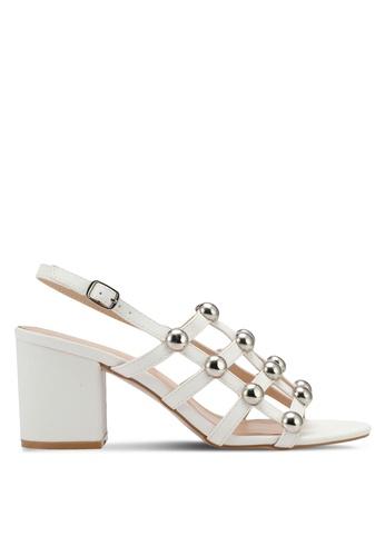 Public Desire white Weekend Chrome Studded Heeled Sandals PU378SH0SIQKMY_1